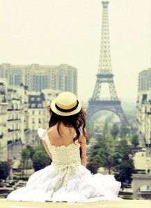 looking at the eiffel tower