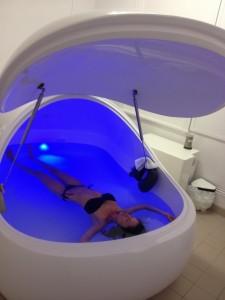 Elizabeth Rose in floatation tank